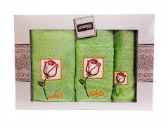 Komplet ręczników frotte 3 częściowy Arti zieleń jabłkowa wz. 1 (30x50,50x100,70x140)