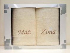 Komplet ręczników Mąż i Żona kolor ecru