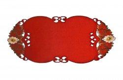 Wiosenny Obrus Haftowany GRACJA 40x90 kolor: czerwony