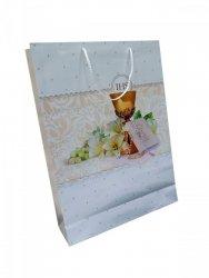 Ozdobne opakowanie, torebka na prezent 33,5 x 45 wz. Komunia krem