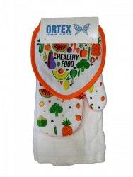 Komplet: Rękawica kuchenna, podstawka pod garnek, ręcznik kuchenny wz. Healhy Food