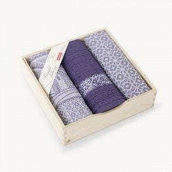 Komplet kuchenny dwóch ścierek  50x70 + ręcznik kuchenny 30x50 wz. Wiatrak wrzosowy
