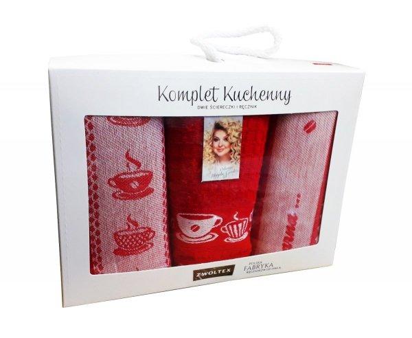 Komplet kuchenny dwóch ścierek 50x70 + ręcznik kuchenny 30x50 wz. Kawusia czerwony