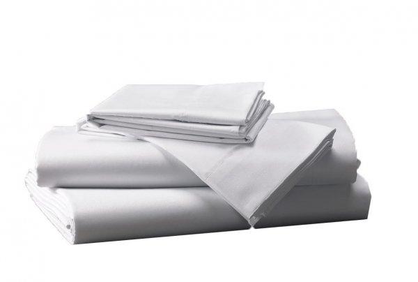 Prześcieradło białe hotelowe NORIS 160x220 100% bawełna