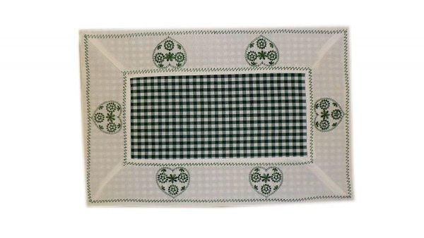 Walentynkowy Ozdobny obrus haftowany rozmiar 40x90 9247 HG Kolor: biało-zielony