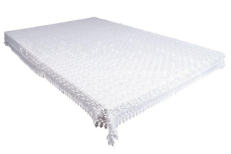 Obrus gipiurowy rozmiar 140x200 wzór biały (155)
