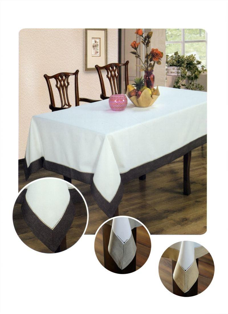 Obrus z mereżką rozmiar 110x160 wzór biało/czekoladowy (211)
