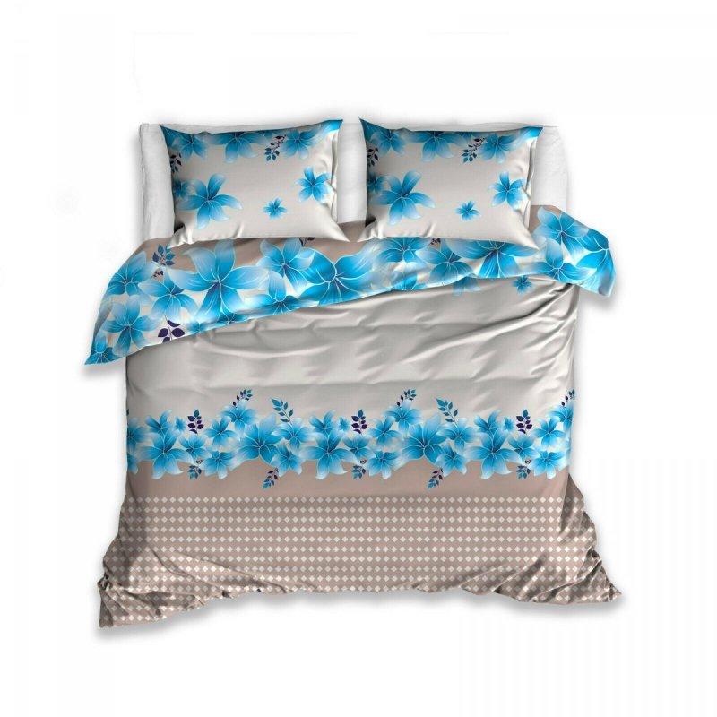 Pościel 100% bawełna 220x200 lub 200x200 lub 180x200 - niebieskie kwiaty w beżach