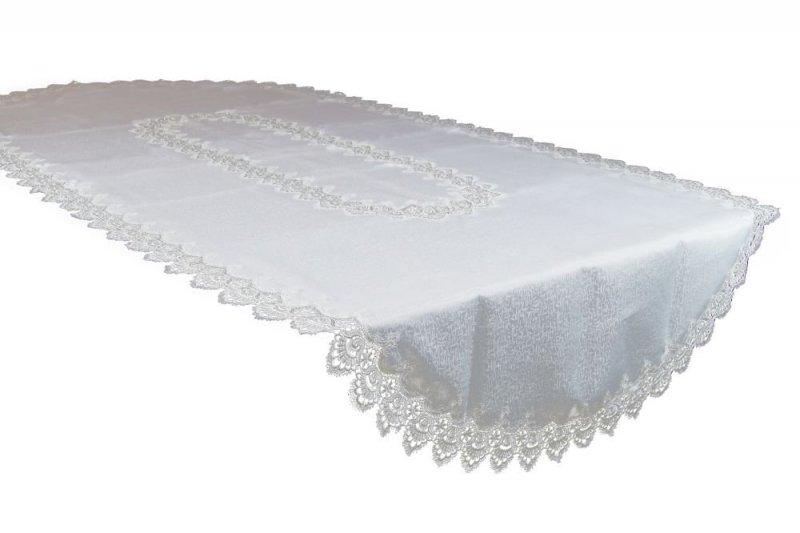 Obrus gipiurowy rozmiar 140x220 owal wzór biały (088 ov)