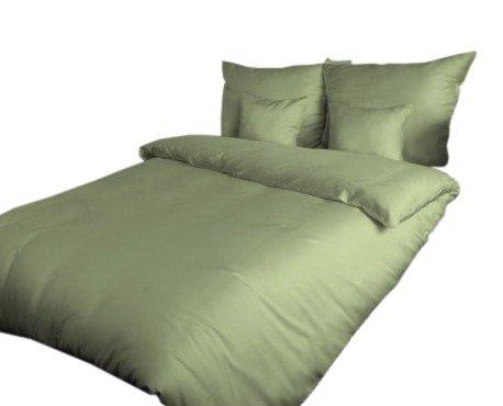 Poszewka na poduszkę 50x60 - 100% bawełna satynowa, zapięcie na zamek kolor oliwka