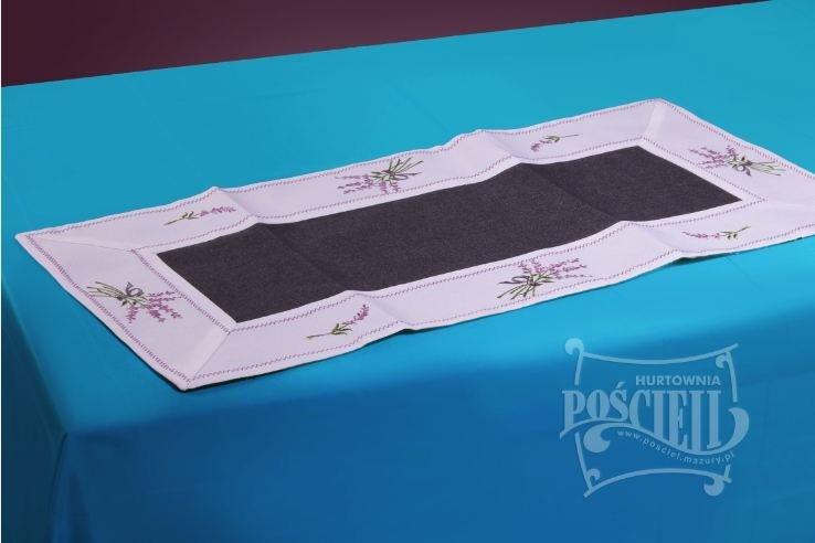 Ozdobny obrus rozmiar 40x110cm Lawenda Kolor: biało-czarny