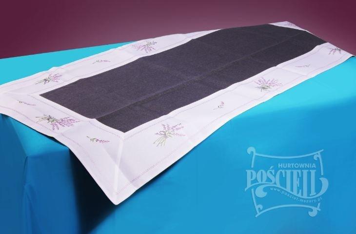 Ozdobny obrus rozmiar 50x130cm Lawenda Kolor: biało-czarny
