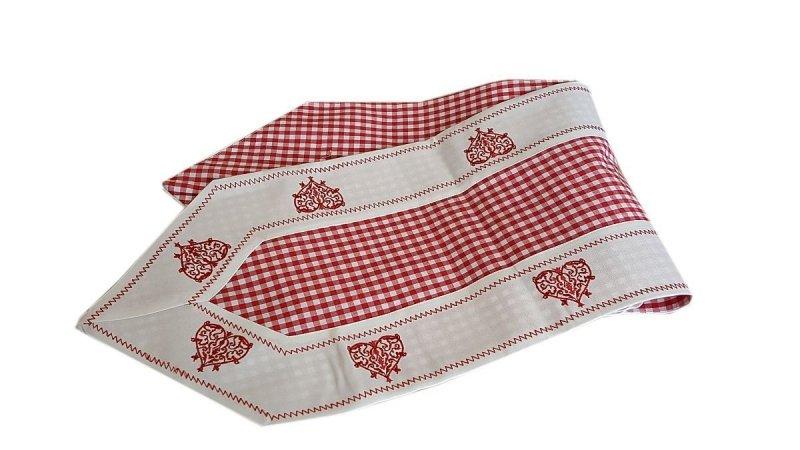 Walentynkowy Ozdobny obrus haftowany rozmiar 28x160 9247 HG Szarfa Kolor: biało-czerwony