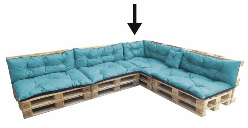 Poduszka ogrodowa na paletę - narożnik 70x40 wz. Turkus