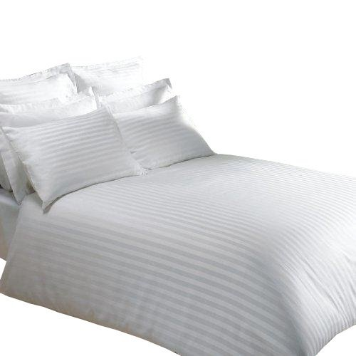 Prześcieradło białe hotelowe, prześcieradło hotel w pasy 140x220, 100% bawełna Adamaszek