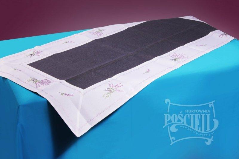 Ozdobny obrus rozmiar 60x120 Lawenda Kolor: biało-czarny