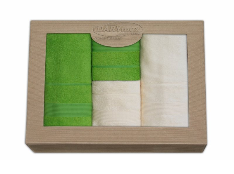 Komplet ręczników czteroczęściowy  Moreno 2x 50x90 + 2x 70x140 Krem - Limonka