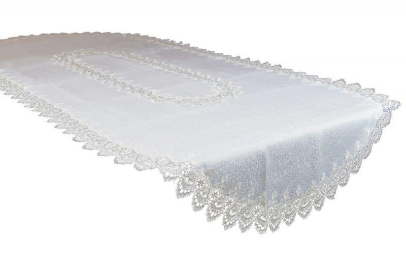 Obrus gipiurowy rozmiar 140x350 wzór biały OWAL (088)
