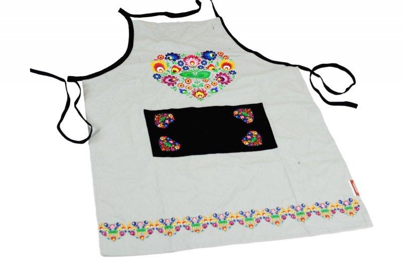 Fartuch kuchenny - Ludowy Łowickie wzory 60x80 Kolor szary wz. 031