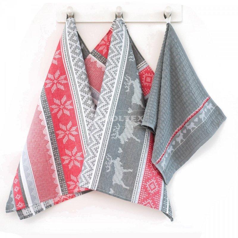 Komplet kuchenny dwóch ścierek 50x70 + ręcznik kuchenny 30x50 wz. Laponia szaro-czerwona