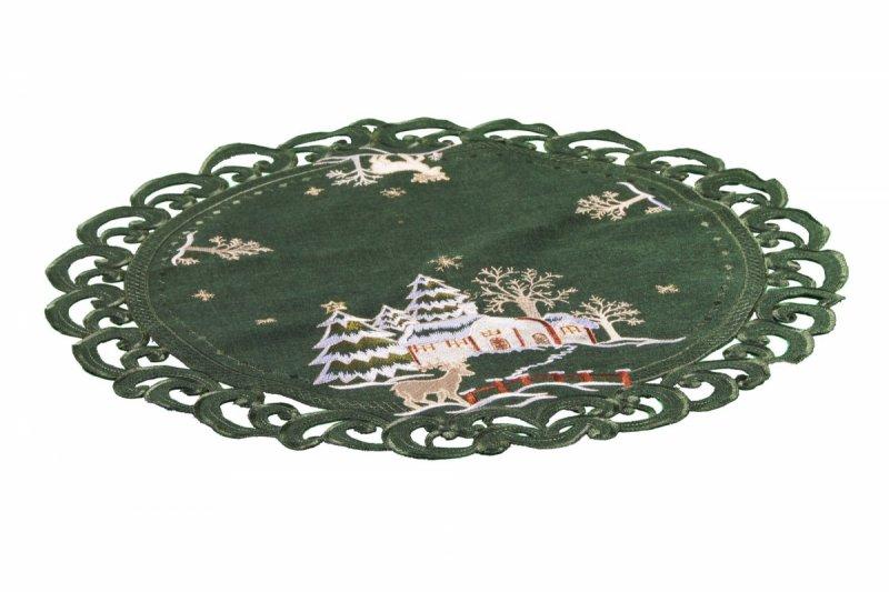 Obrus Świąteczny Boże Narodzenie 60cm koło. 273 Kolor: zielony