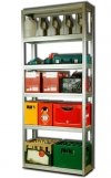 Metallregal Steck-Lager- Schwerlastregal bis 400 kg pro Boden , verzinkt , HZ_196x100x40, 6 Böden