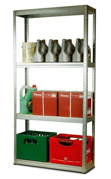 Metallregal Steck-Lager- Schwerlastregal bis 400 kg pro Boden , verzinkt , HZ_180x075x40, 4 Böden