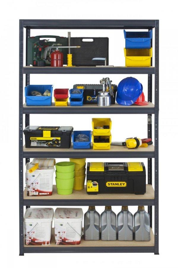 Metallregal Werkstatt Schwerlastregal Helios 196x120x30_6 Böden, Tragkraft bis 400 Kg pro Boden,  Viele Farben zur Auswahl