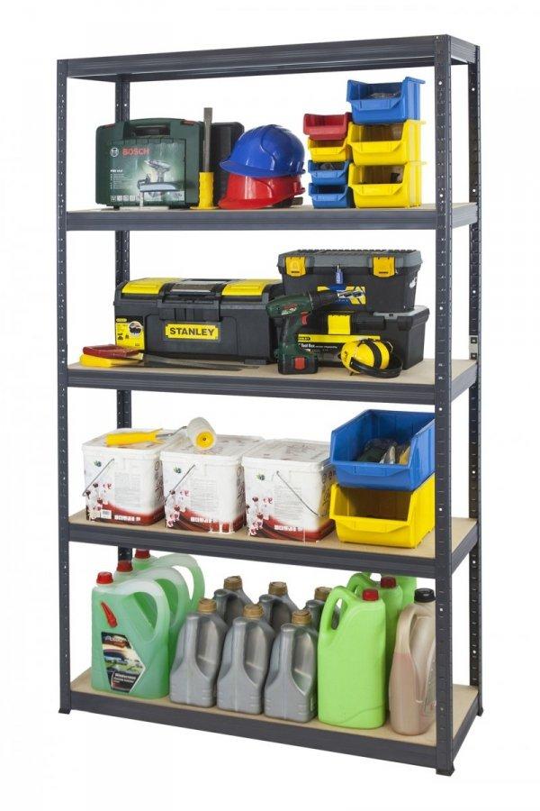 Metallregal Werkstatt Schwerlastregal Helios 196x100x50_5 Böden, Tragkraft bis 400 Kg pro Boden,  Viele Farben zur Auswahl