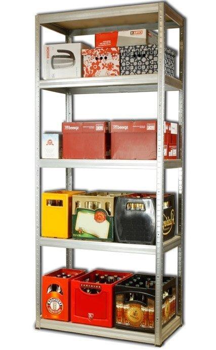 Metallregal Steck-Lager- Schwerlastregal bis 400 kg pro Boden , verzinkt , HZ_196x110x45, 5 Böden