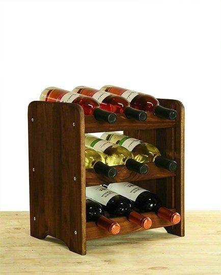 Weinregal für 6 Flaschen RW-3-06P (34x26,5x37), Unbehandelt, Erlen, Braun