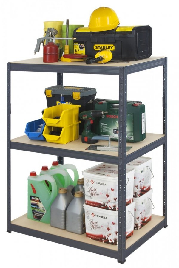 Metallregal Werkstatt Schwerlastregal Helios 090x110x50_3 Böden, Tragkraft bis 400 Kg pro Boden,  Viele Farben zur Auswahl