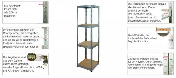 Metallregal Werkstatt Schwerlastregal Helios 106x090x50_3 Böden, Tragkraft bis 400 Kg pro Boden,  Viele Farben zur Auswahl