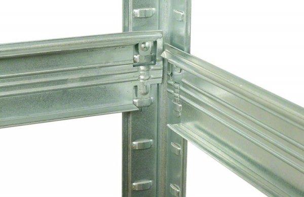 Metallregal Steck-Lager- Schwerlastregal bis 400 kg pro Boden , verzinkt , HZ_213x075x45, 5 Böden