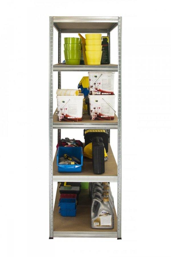Metallregal Steck-Lager- Schwerlastregal bis 400kg pro Boden , verzinkt , HZ_196x120x30, 5 Böden