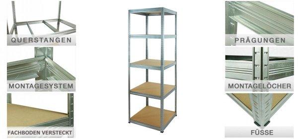 Metallregal Steck-Lager- Schwerlastregal bis 175 kg pro Boden , verzinkt , HZ_196x035x35, 5 Böden, Quadratisch