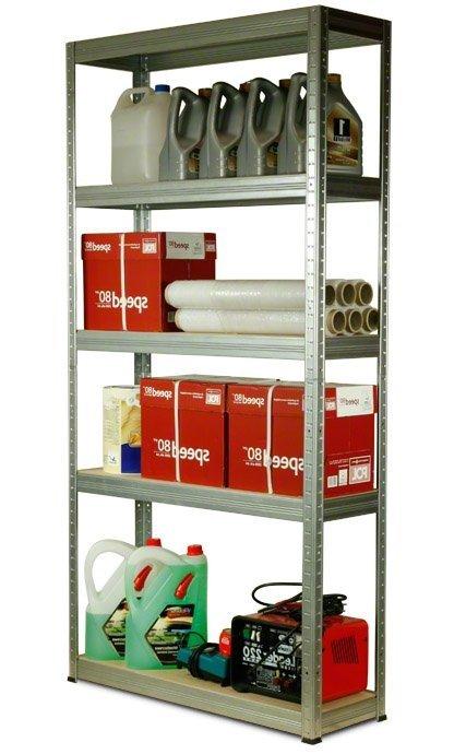 Metallregal Steck-Lager- Schwerlastregal bis 400 kg pro Boden , verzinkt , HZ_180x090x35, 5 Böden