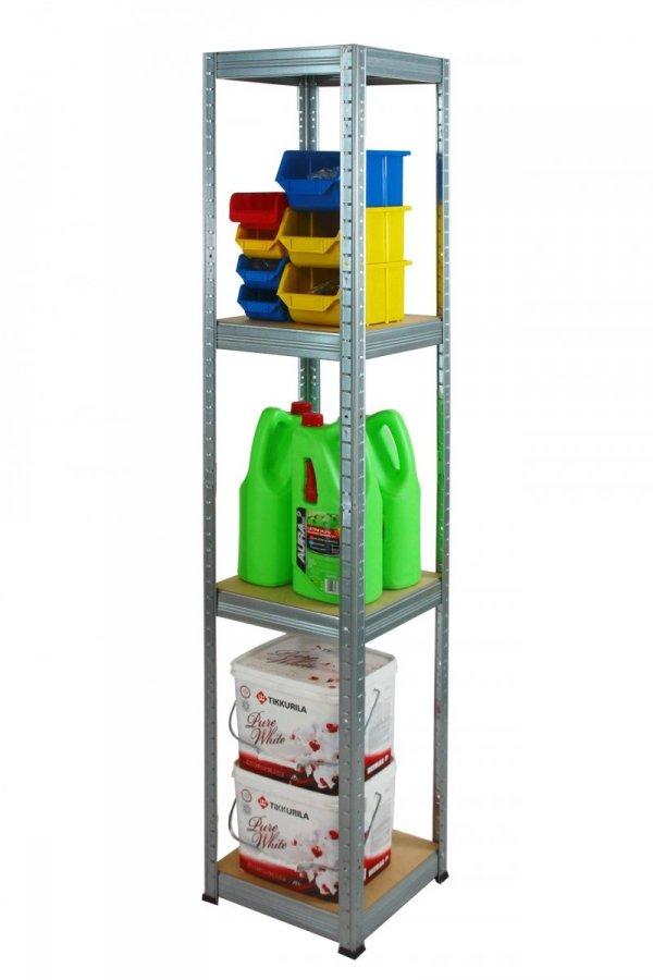 Metallregal Steck-Lager- Schwerlastregal bis 175 kg pro Boden , verzinkt , HZ_180x060x60, 4 Böden, Quadratisch