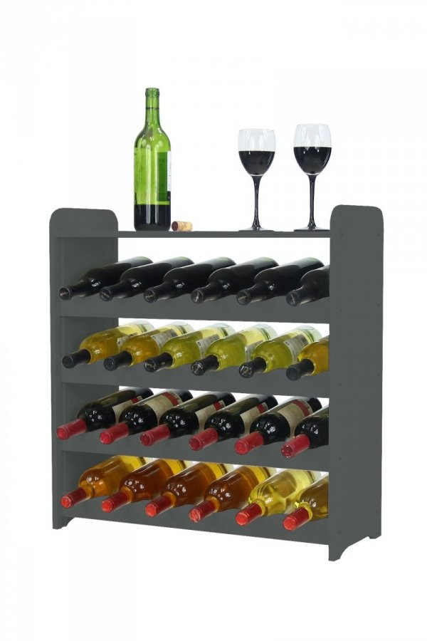 Weinregal Holz 24 Flaschen, RW-16-24P (62,5x26,5x64,4), Dunkelgrau, Ecru, Dunkelgrau Decor, Dunkelbraun Decor