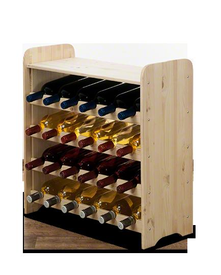 Weinregal  für 24 Flaschen RW-3-24P (63x26,5x65), Unbehandelt, Erlen, Braun