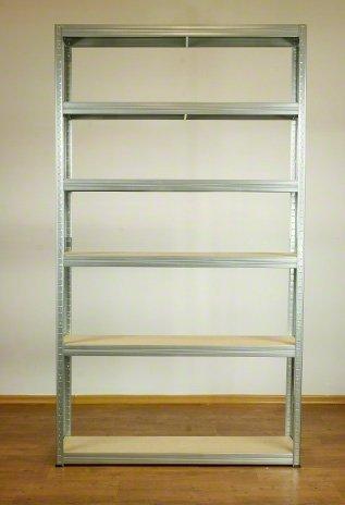 Metallregal Steck-Lager- Schwerlastregal bis 400 kg pro Boden , verzinkt , HZ_196x120x30, 6 Böden