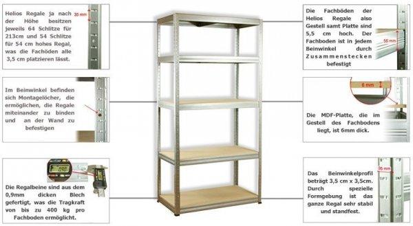 Metallregal Werkstatt Schwerlastregal Helios 180x090x45_5 Böden, Tragkraft bis 400 Kg pro Boden,  Viele Farben zur Auswahl