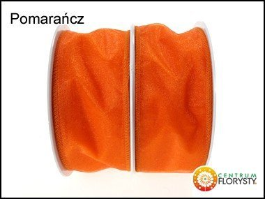 Organza z Drutem 5cm/9m Kolor Pomarańcz