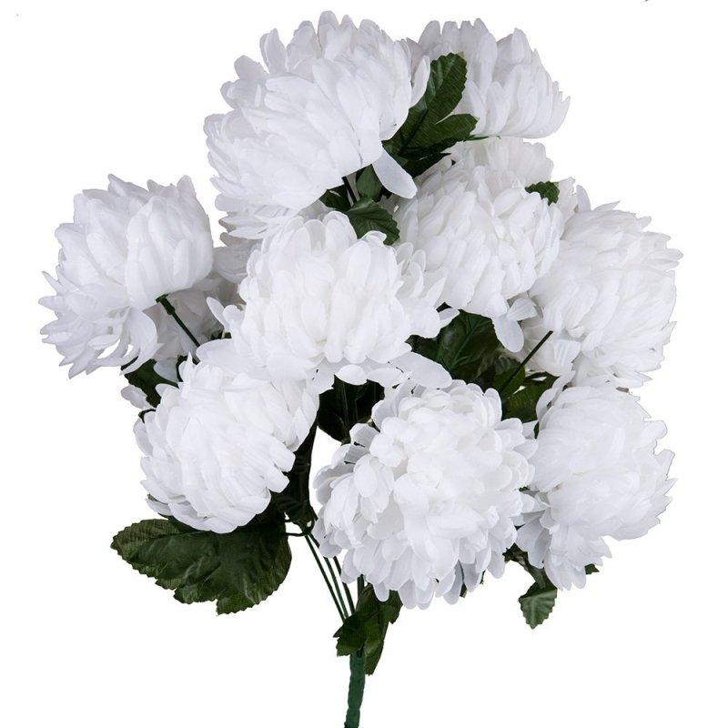 Bukiet Chryzantema Gruba Duże Kwiaty 50cm - Biała