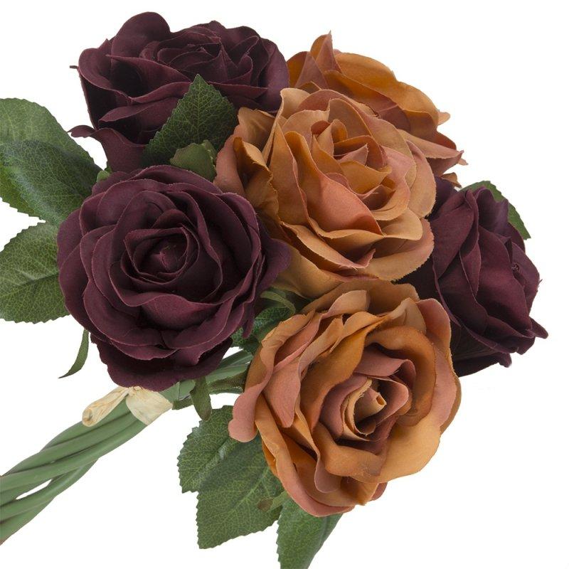 Róża Duża 6szt Bordo/Pomarańcz