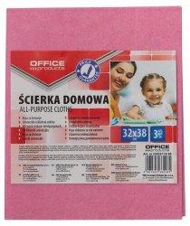 Ścierka domowa OFFICE PRODUCTS, wiskoza 70%, gr. 80g/mkg, 32x38cm, 3szt., mix kolorów
