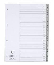 Przekładki Q-CONNECT, PP, A4, 230x297mm, 1-31, 31 kart, szare
