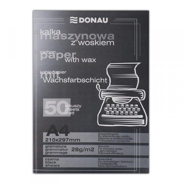 Kalka maszynowa DONAU z woskiem, A4, 50szt., czarna