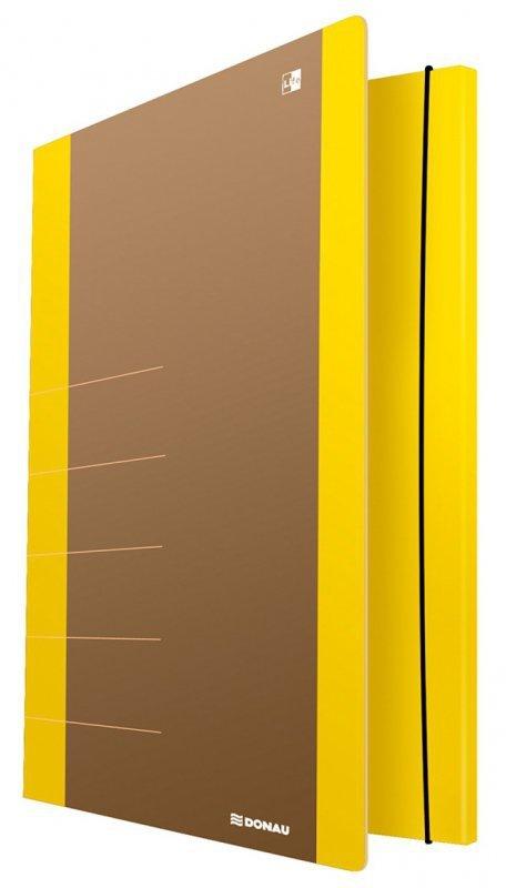 Teczka z gumką DONAU Life, Karton, A4, 500gsm, 3-skrz., żółty