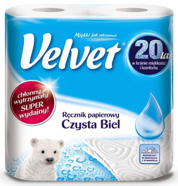 Ręczniki w roli celulozowe VELVET Czysta Biel, 2-warstwowe, 54 listków, 2szt., białe